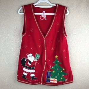 Sweaters - Womens Red Vest with Santa & Christmas Tree Sz M